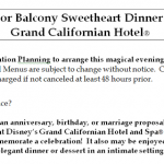 The Sixth Floor Balcony Sweetheart Dinner at Disney's Grand Californian Hotel