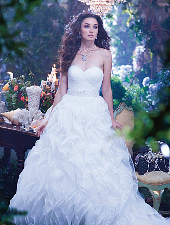 The 2014 alfred angelo disney 39 s fairy tale wedding gowns for Beauty and the beast style wedding dress