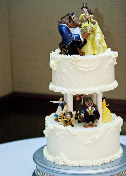 Beauty and the beast inspired wedding cakes