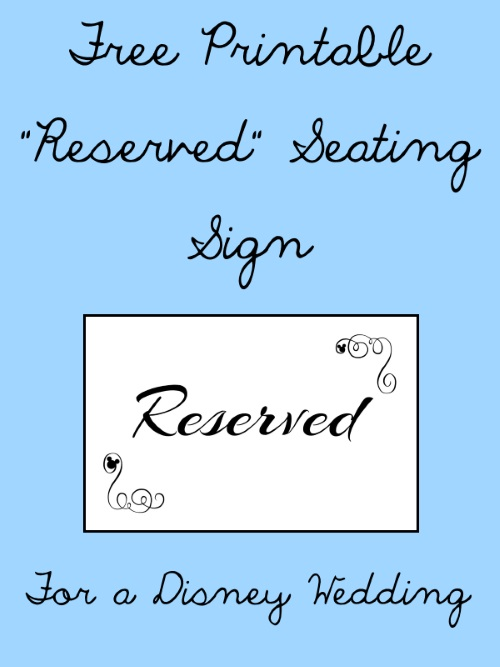 Breathtaking image regarding free printable reserved signs