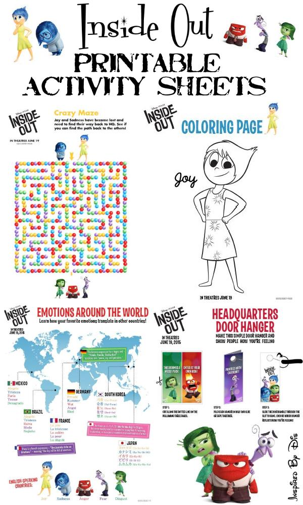 Inside Out Free Printable Activities And Recipes This