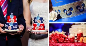 Navy, Red, and Silver Disney Wedding Inspiration Board