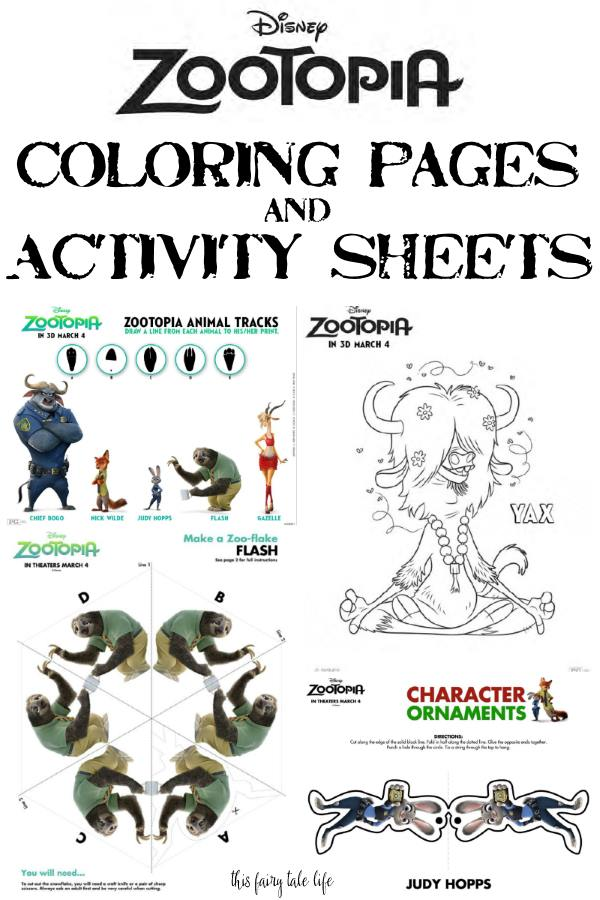 zootopia coloring pages and printable activity sheets - Printable Fun Sheets