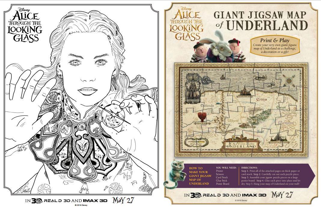 ALICE THROUGH THE LOOKING GLASS Coloring Pages and