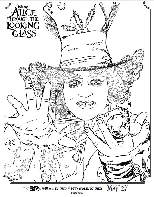 ALICE THROUGH THE LOOKING GLASS Coloring Pages and Activity Sheets