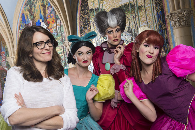 "(March 25, 2016): Emmy, Golden Globe, SAG and People's Choice award-winner Tina Fey poses with Disney's original mean girls, Cinderella's wicked stepmother and stepsisters, March 25, 2016 at Magic Kingdom Park in Lake Buena Vista, Fla. Fey vacationed at Walt Disney World while on break from working on the musical adaptation of the 2004 hit film, ""Mean Girls."" (David Roark, photographer)"