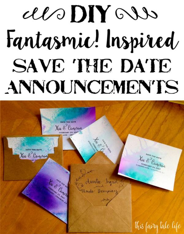 "DIY ""Fantasmic!"" Inspired Watercolor Save the Date Cards"