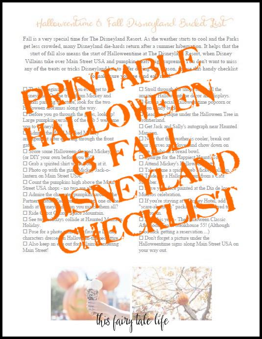 Halloweentime and Fall Disneyland Bucket List