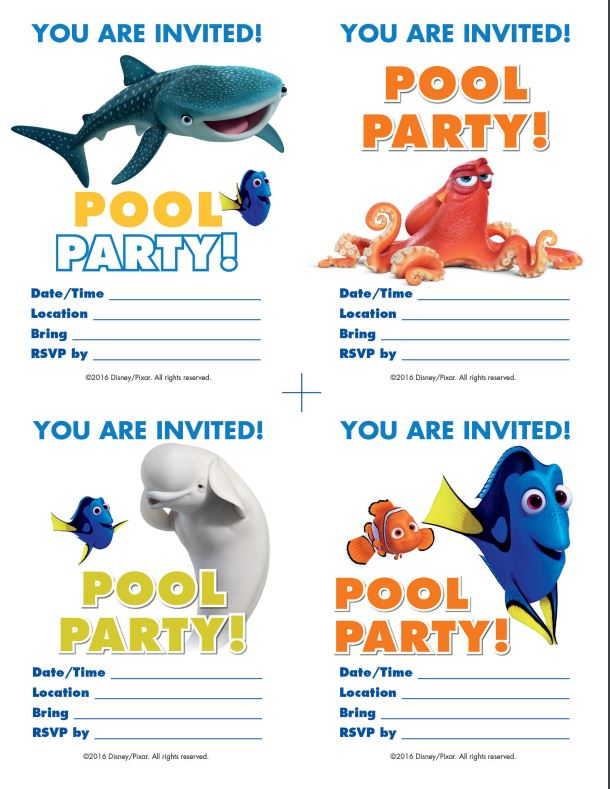 FINDING DORY Recipes and Pool Party Printables