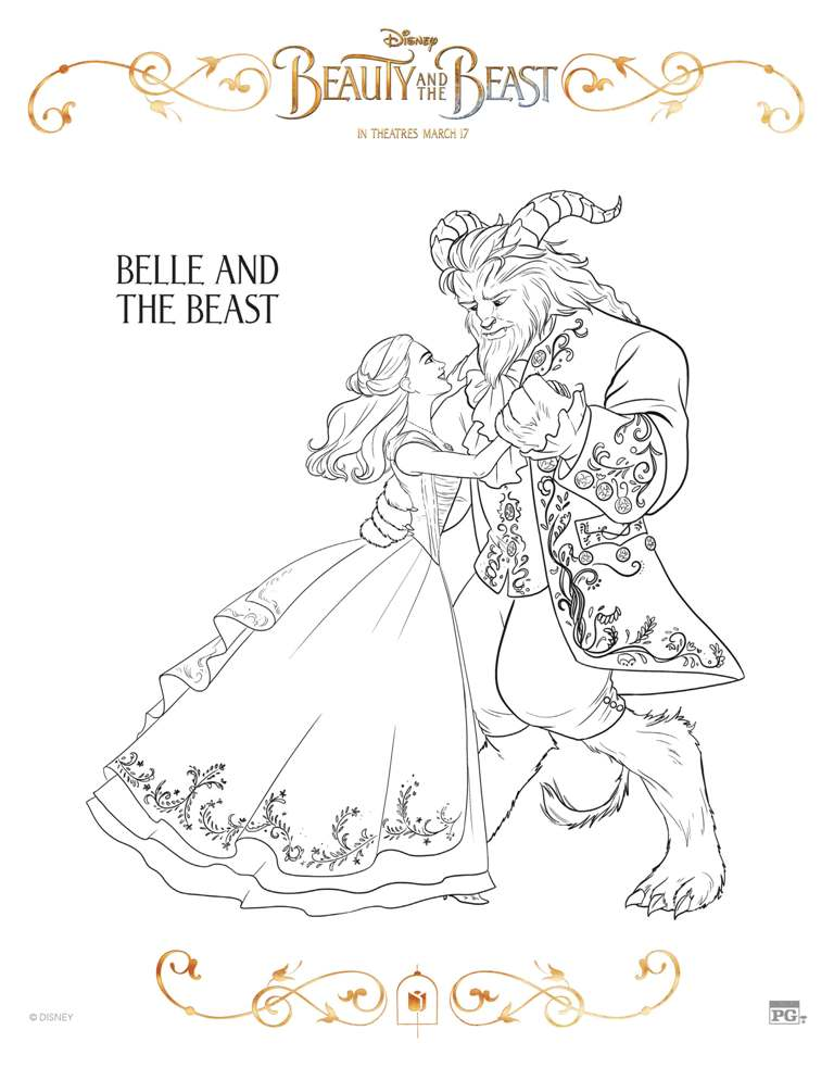Beauty and the beast chip coloring page