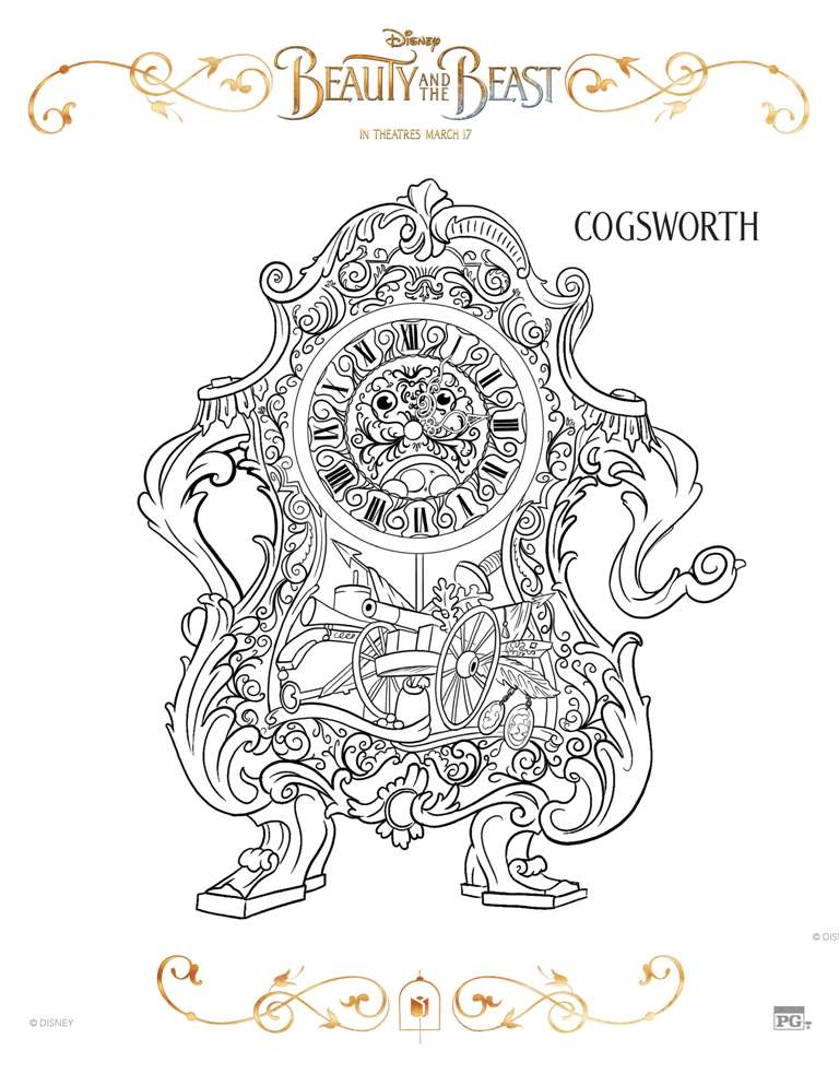 free printable beauty and the beast coloring pages - Coloring Pg