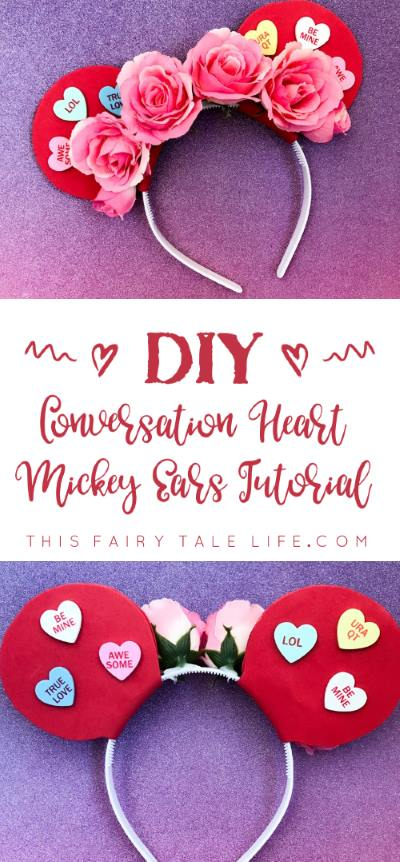 Conversation Heart Mickey Ears Tutorial for Valentine's Day