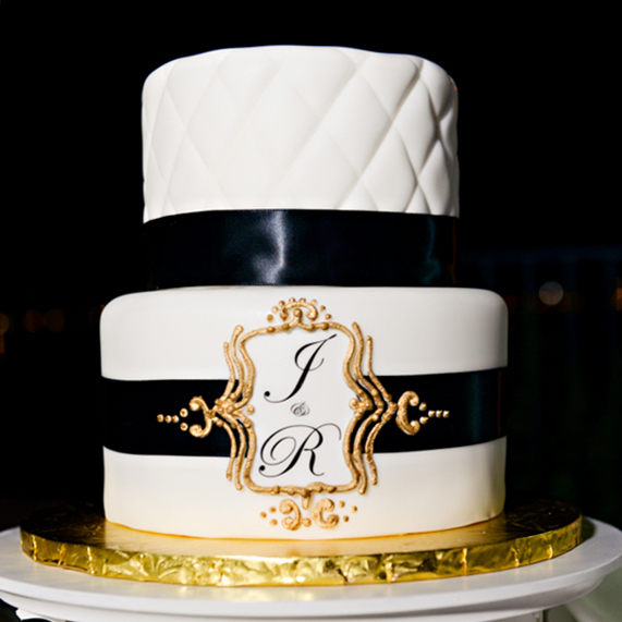 Simple White And Gold Wedding Cakes