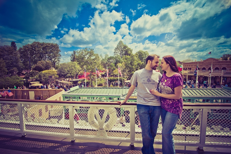Couple posing on mark twain riverboat