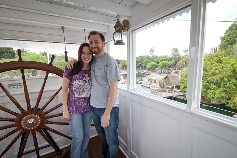 Couple posing in Mark Twain Wheelhouse at Disneyland