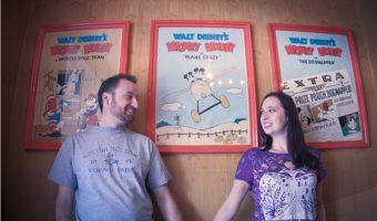 Couple posing at Disneyland Main Street Cinema