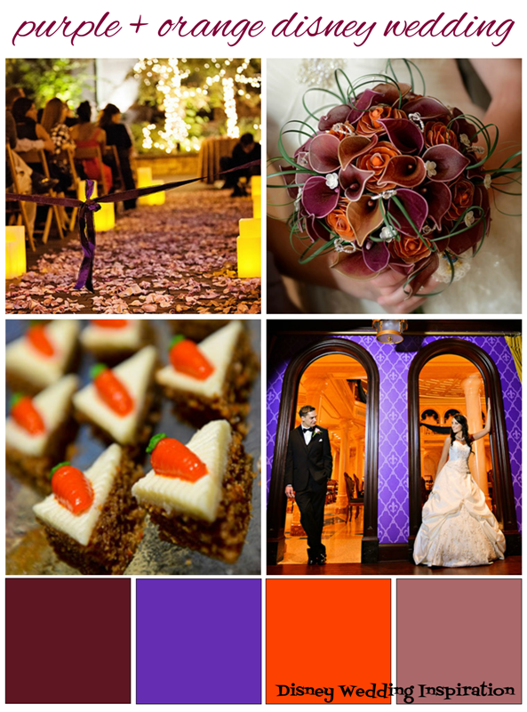 Purple and Orange Disney Wedding Inspiration Board