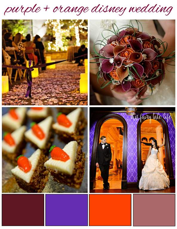 Purple and Orange Disney Wedding Inspiration Board