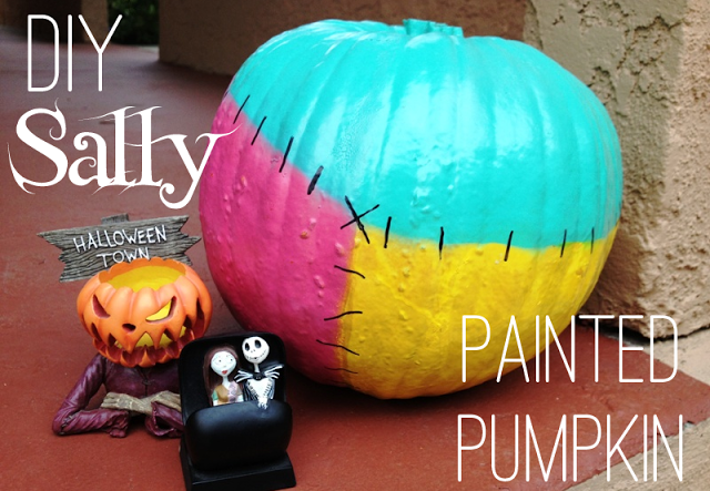 DIY No Carve Sally Halloween Pumpkin
