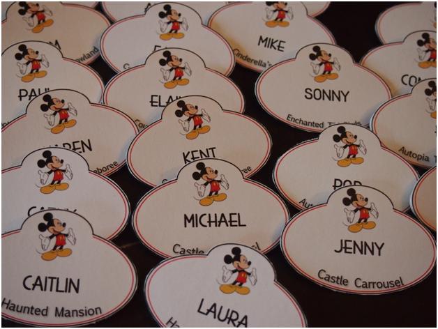 DIY Disney Cast Member Name Tags Escort Cards