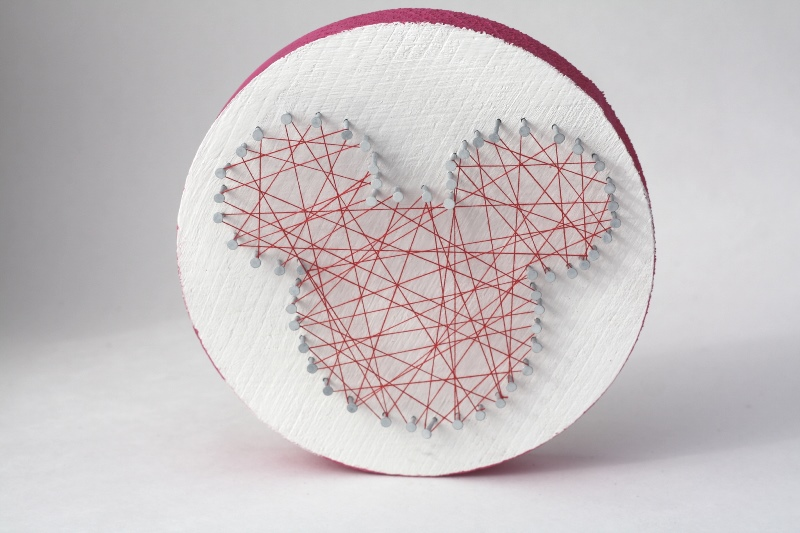 Completed string art Mickey shape