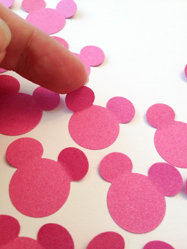 Close up of paper Mickey shape