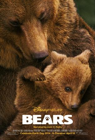 "Movie poster for ""bears"" featuring mother brown bear and baby"