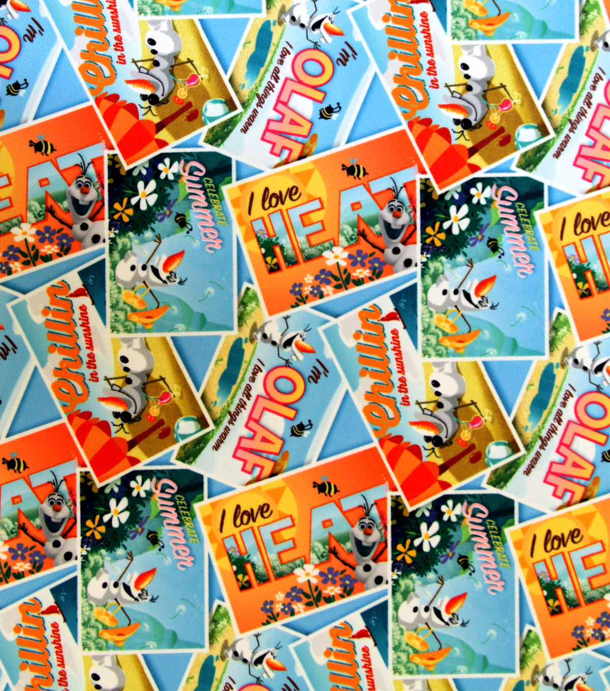 Olaf Postcard Toss Fabric from Joann Fabrics and Crafts