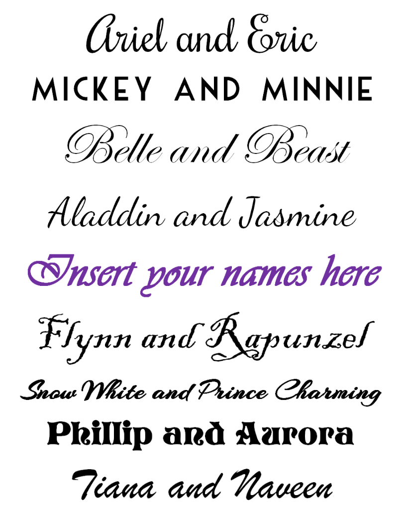 FREE Disney Couples Printable