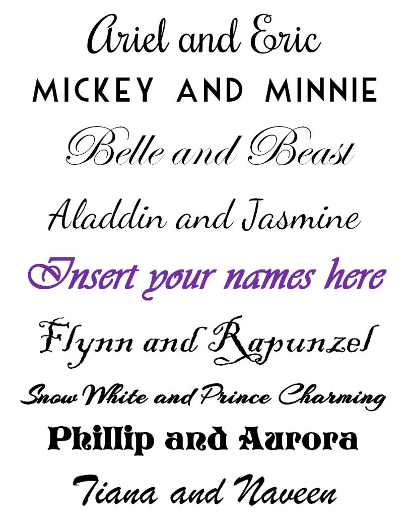 FREE Disney Couples Printable