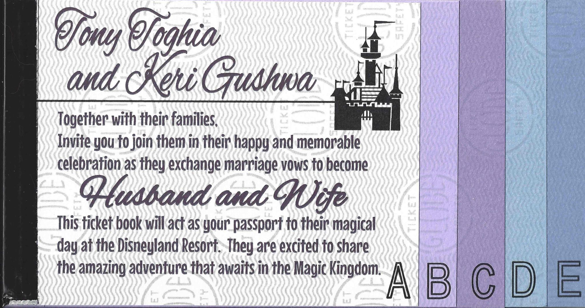 keri tony s disneyland ticket book wedding invitations