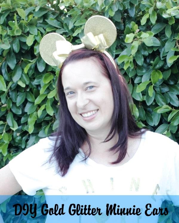 DIY Gold Glitter Minnie Ears