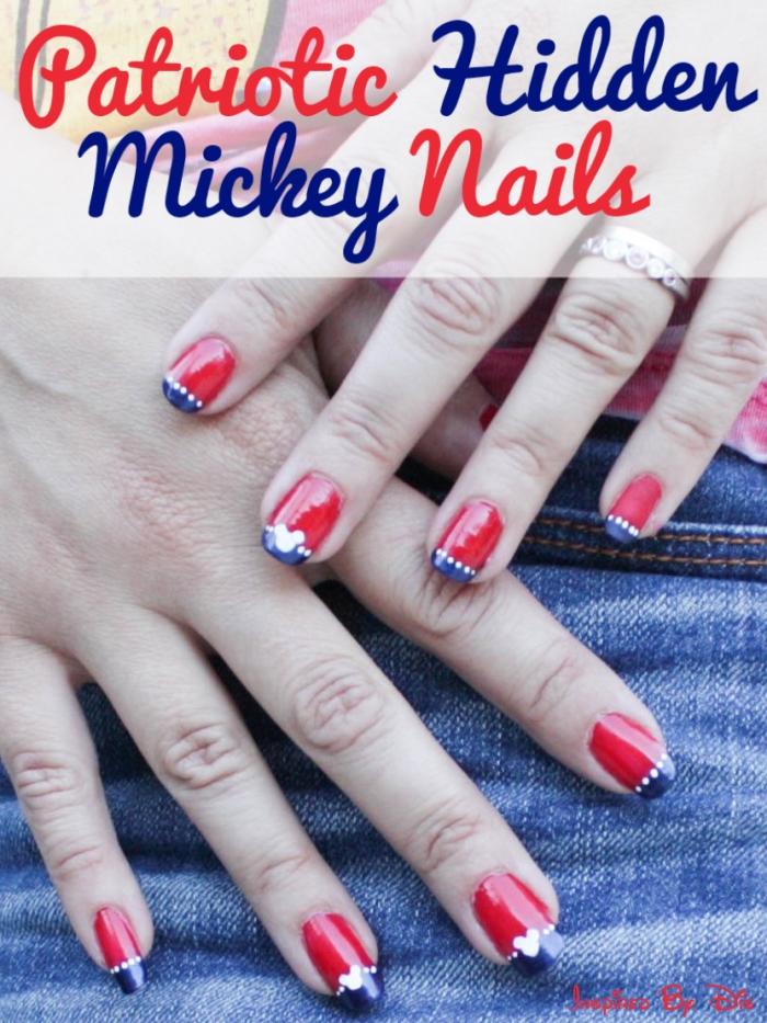 Patriotic Hidden Mickey Nails