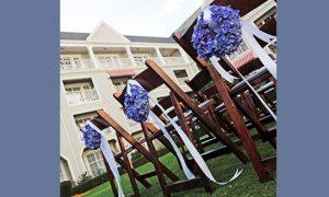 Dark Blue, Periwinkle, and Brown Disney Wedding Inspiration Board