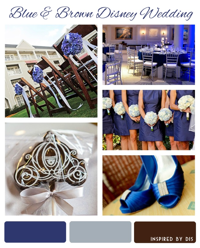 Dark Blue, Periwinkle, and Brown Disney Wedding Inspiration Board