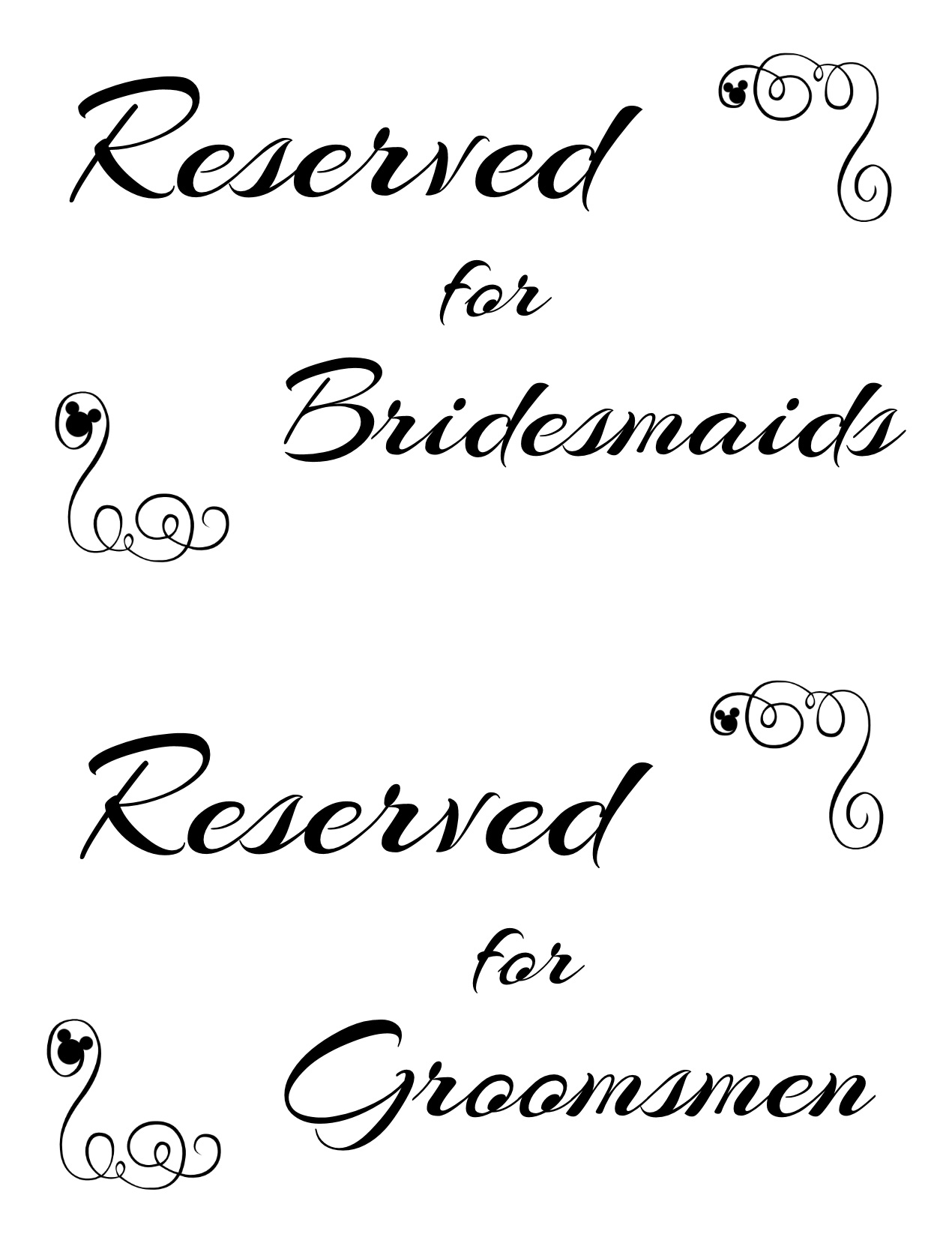 photograph about Free Printable Reserved Seating Signs called Absolutely free Printable Reserved Seating Indicators for Your Marriage ceremony Rite