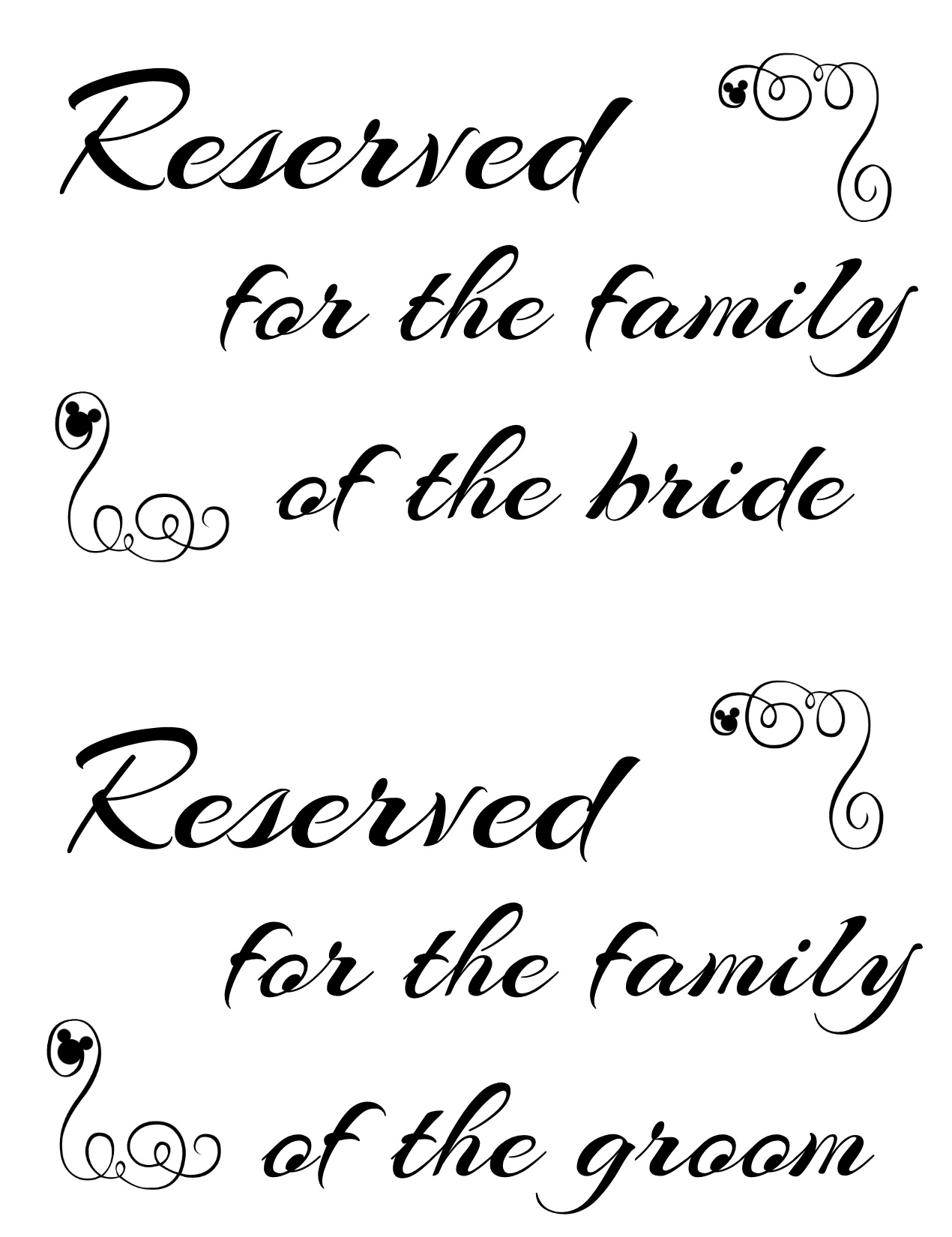image regarding Reserved Sign Printable identified as Free of charge Printable Reserved Seating Indicators for Your Marriage Rite