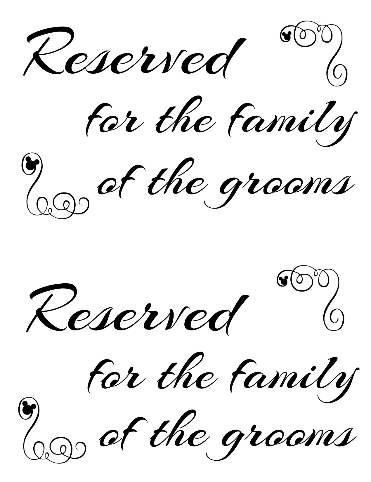 photo relating to Printable Reserved Signs called Totally free Printable Reserved Seating Signs and symptoms for Your Wedding ceremony Rite