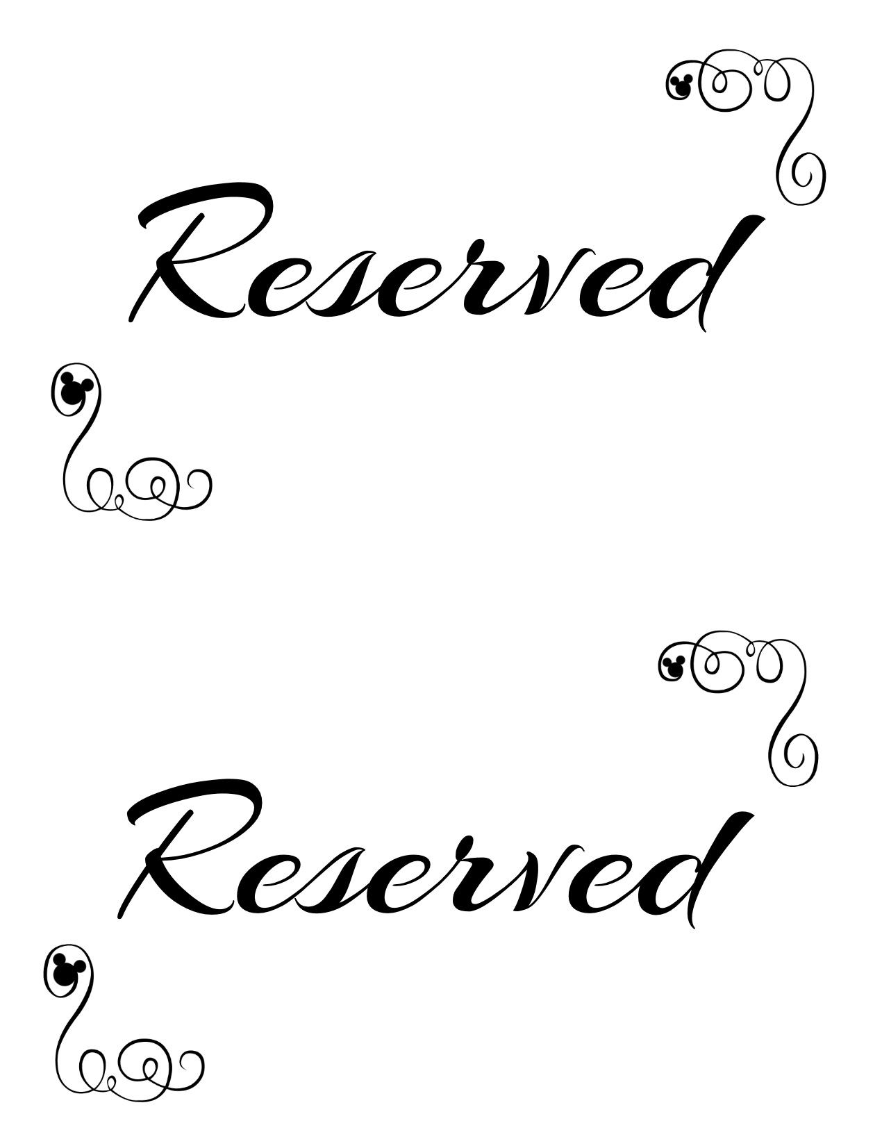 printable reserved sign Free Printable Reserved Seating Signs for Your Wedding Ceremony