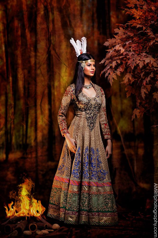 Pocahontas - Disney Princesses Reimagined as Indian Brides // Photo by Amrit Grewal