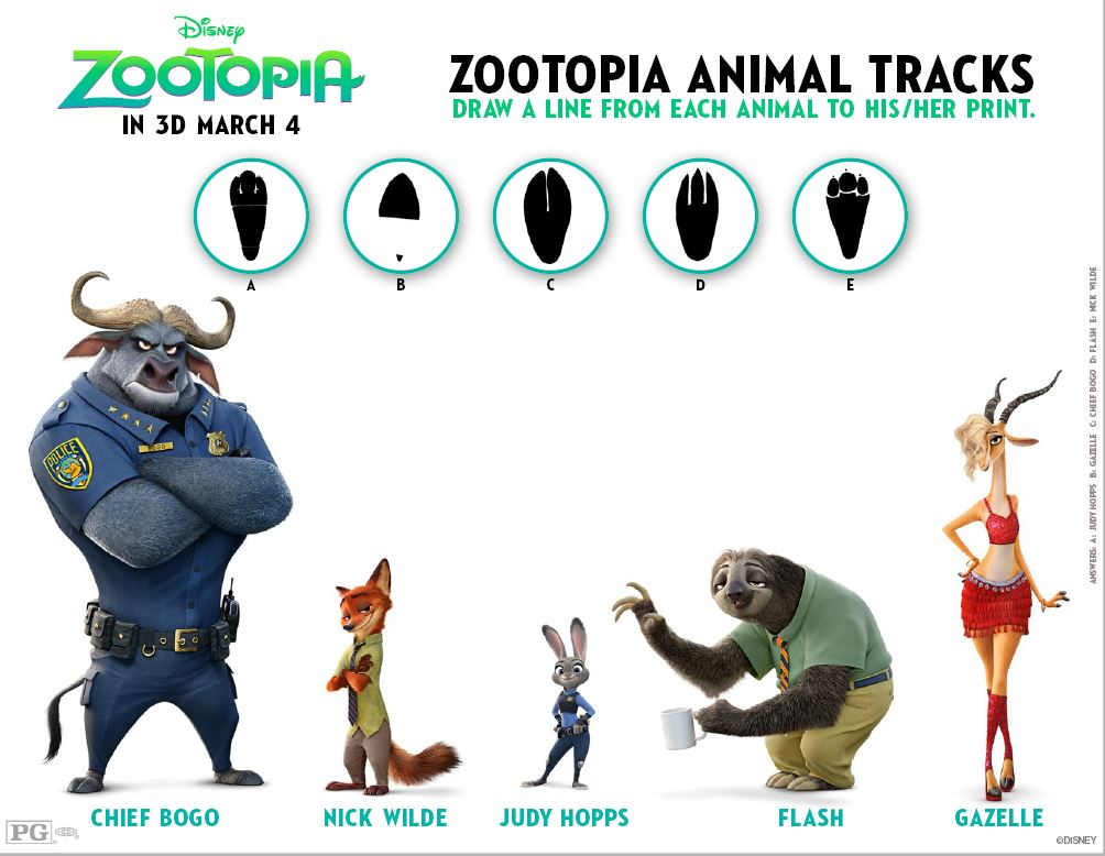 graphic relating to Free Printable Animal Tracks identify ZOOTOPIA Coloring Internet pages and Printable Video game Sheets