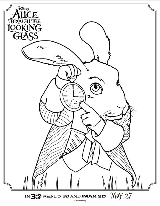 ALICE THROUGH THE LOOKING GLASS Coloring Pages and Activity Sheets ...