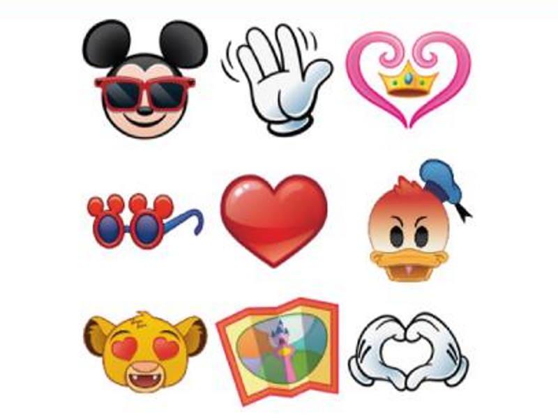 Grid of 9 images depicting Disney characters as emojis