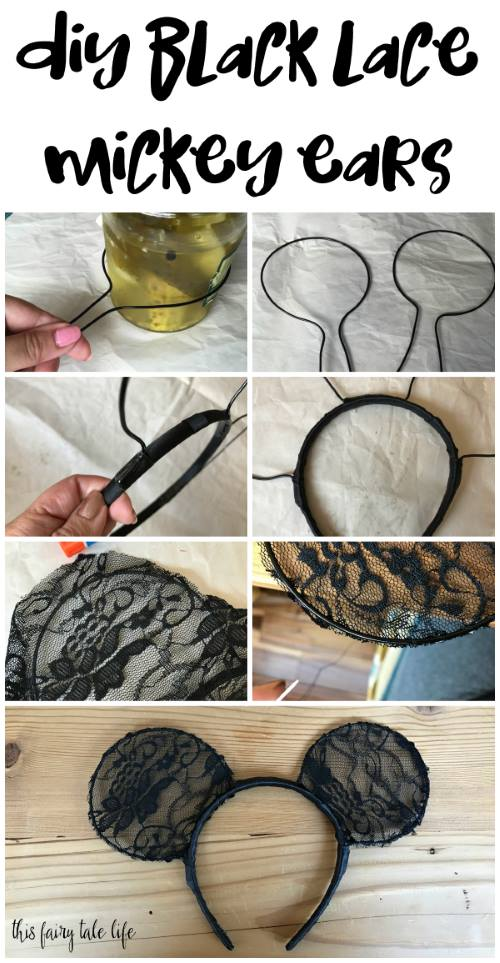 DIY Black Lace Mickey Ears