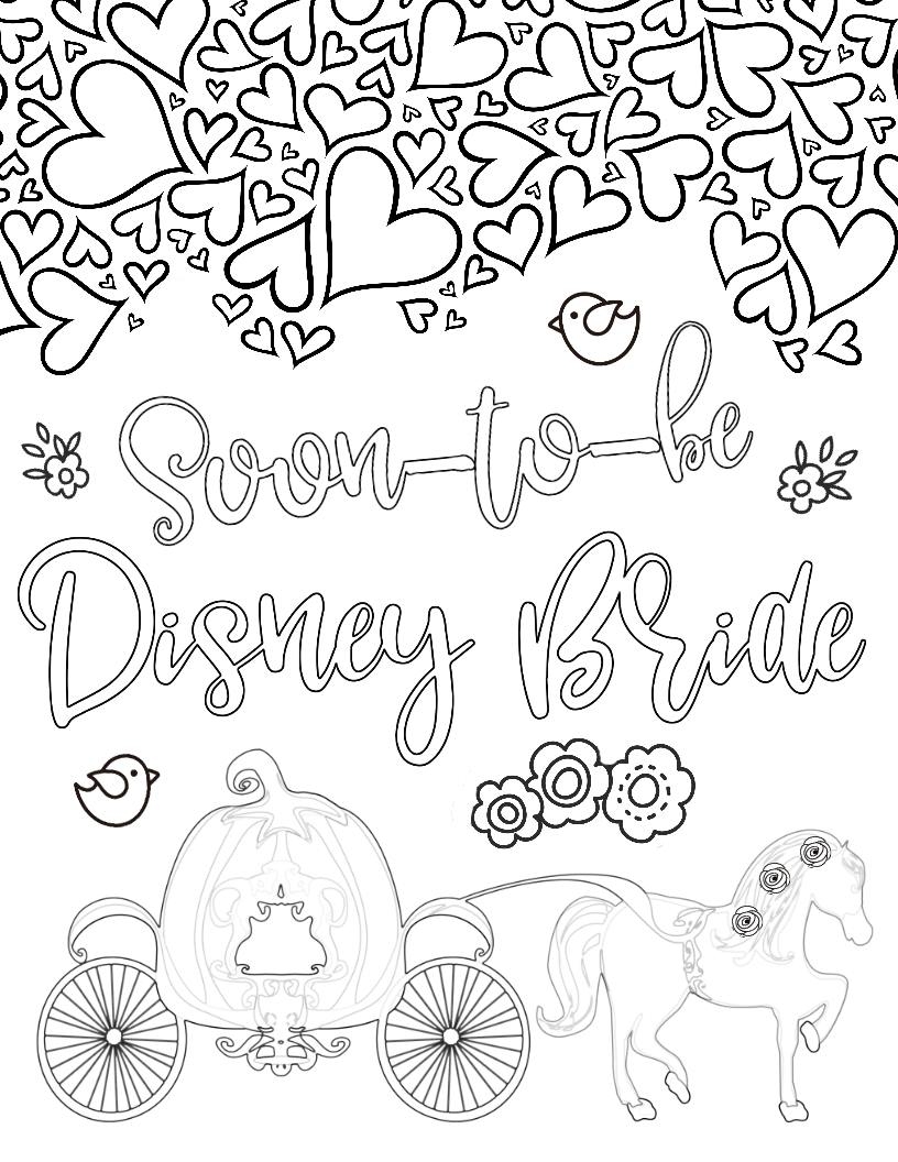 Disney Bride & Just Engaged Coloring Pages