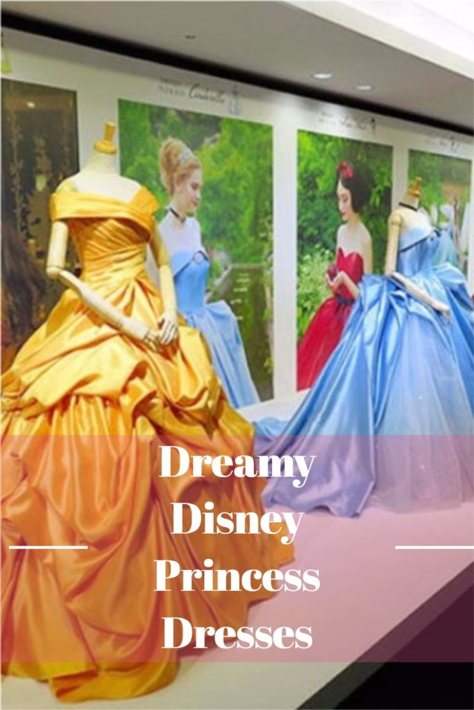 """Collage of Disney Princess Gowns with text overlay that reads """"Dreamy Disney Princess Dresses"""""""