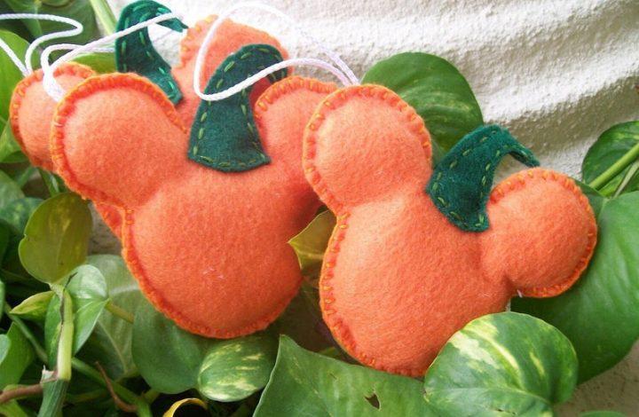 Craft felt shaped like a Mickey Mouse pumpkin