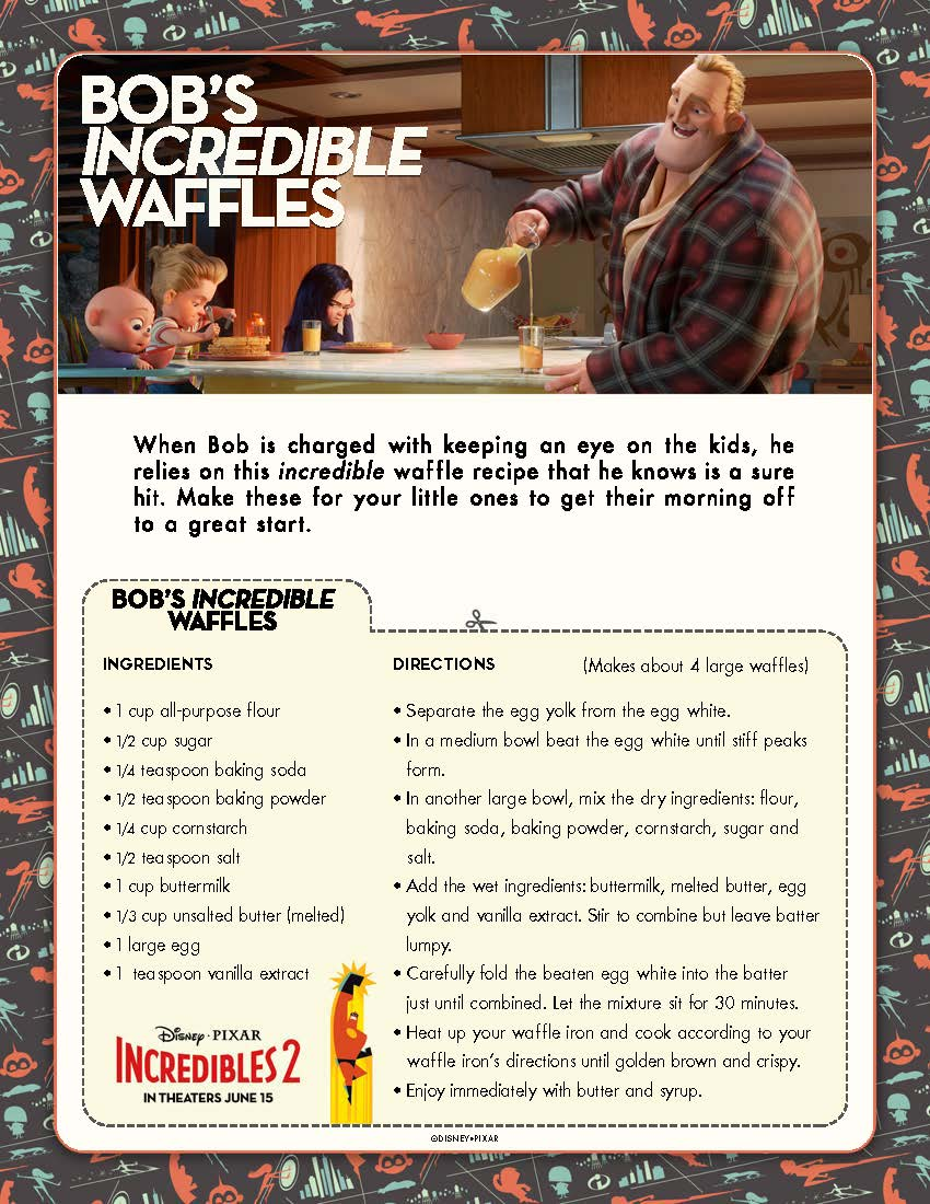 INCREDIBLES 2 Coloring Pages, Recipes, and Printable Activities
