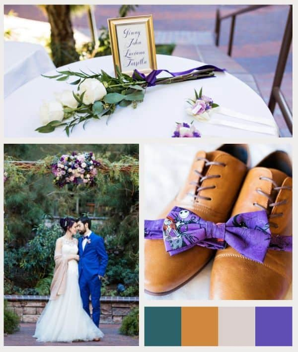 Collage of wedding photos featuring green, brown, and purple
