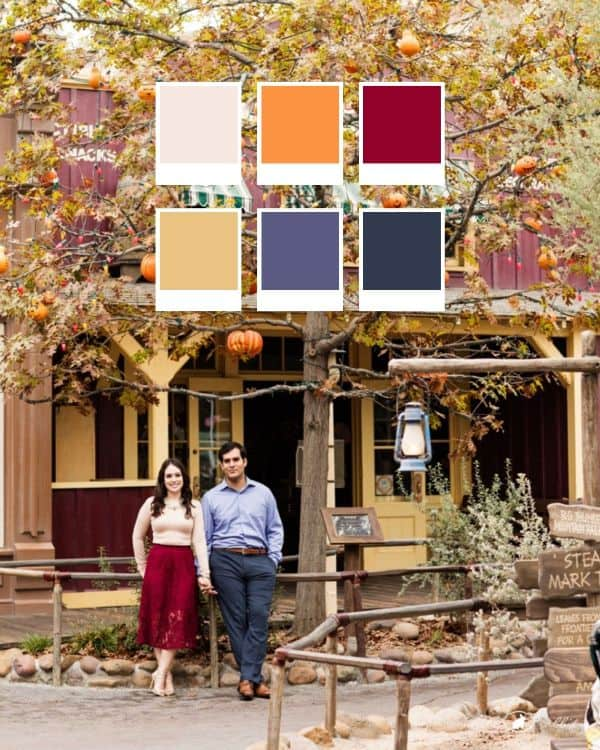 Couple standing in front of Halloween Tree at Disneyland with color swatches overlay showing colors beige, orange, deep red, mustard, grey and dark grey